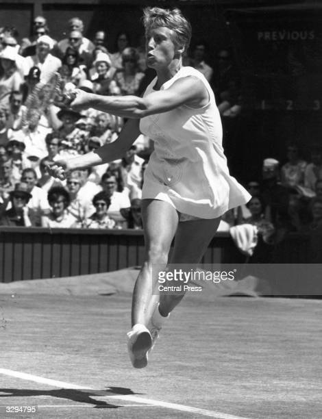 British player Ann Jones hurtles across the court in the Ladies Singles Final at Wimbledon in her match against Billie Jean King Jones won and became...