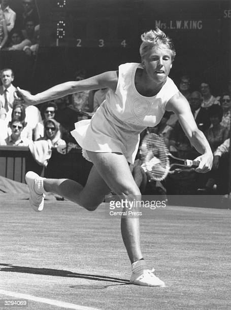 British tennis player Ann Jones on her way to beating Billie Jean King of the USA during the women's singles final at the Wimbledon Lawn Tennis...