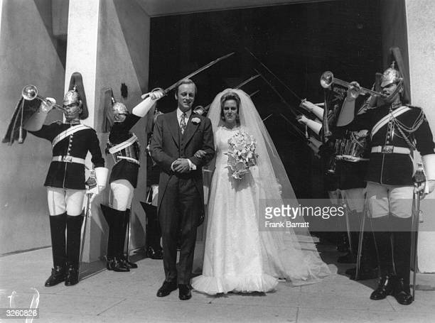 The wedding of Andrew ParkerBowles and Camilla Shand at the Guard's Chapel London with members of the Horseguards present