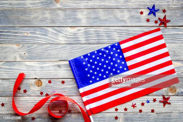 4th celebration american flag wooden backrgound