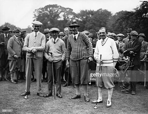 Competitors in the International Golf Tournament between Great Britain and America at Wentworth Park Virginia Water F Robson Fred McLeod Edward Ray...