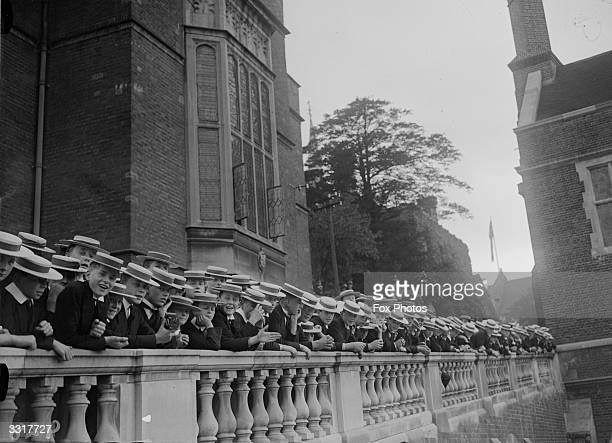 Pupils at Harrow school lining a terrace on the occasion of prime minister Stanley Baldwin's visit