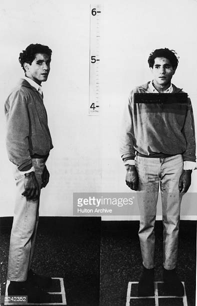 Two fulllength police portraits of Jordanian assassin Sirhan Sirhan the night he assassinated Democratic presidential candidate Robert F Kennedy Los...