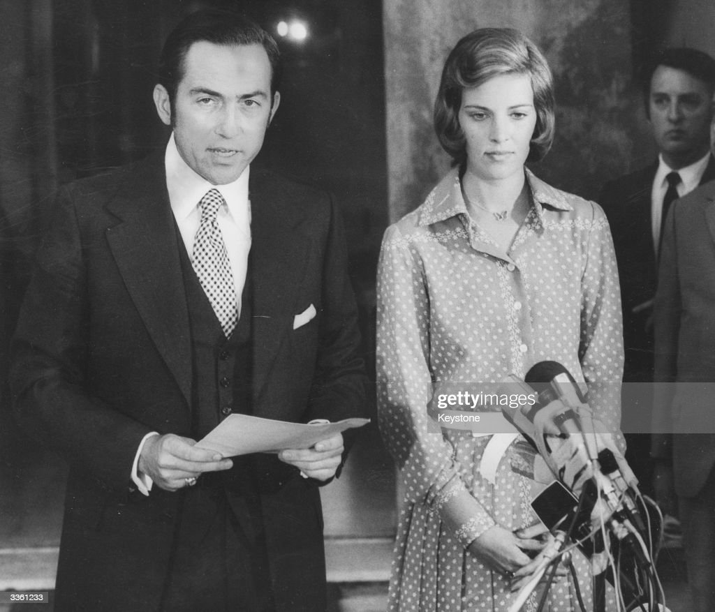 The deposed King of Greece, King Constantine II and his wife Queen Anne-Marie giving a press conference in Rome.