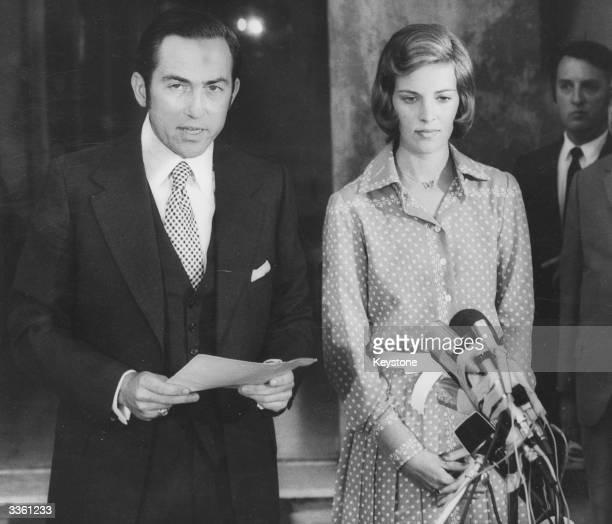 The deposed King of Greece King Constantine II and his wife Queen AnneMarie giving a press conference in Rome