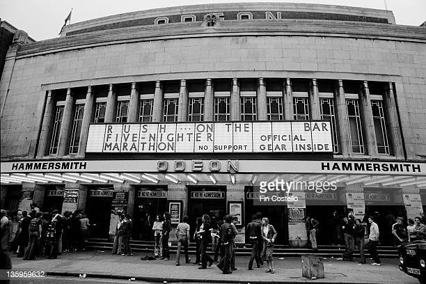 Exterior view of Hammersmith Odeon in Hammersmith London on the first night of concerts by the Canadian band Rush during their Permanent Waves tour...