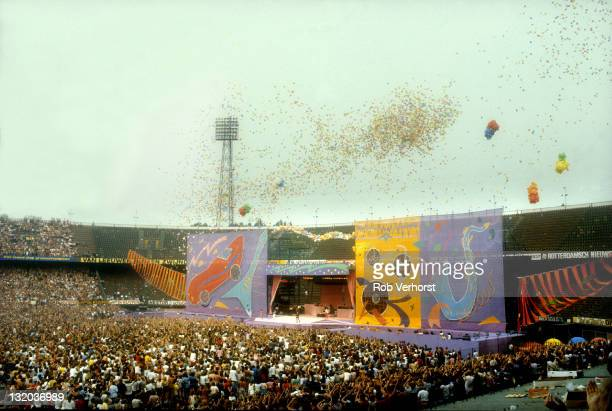 The Rolling Stones perform live on stage at the Feyenoord Stadium in Rotterdam Netherlands during their 1982 European tour on 4th June 1982