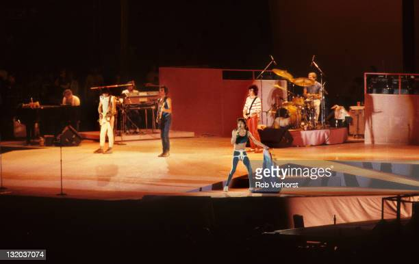 The Rolling Stones perform live on stage at the Feyenoord Stadium in Rotterdam Netherlands during their 1982 European tour on 4th June 1982 Left to...
