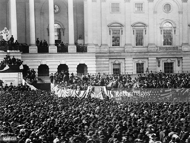 Crowds gather at the Capitol building in Washington, DC to witness the inauguration of William McKinley as the 25th president of the United States....