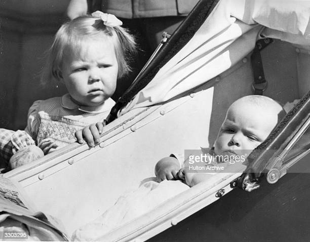 Princess Beatrix daughter of Queen Juliana of the Netherlands with her sister Princess Irene