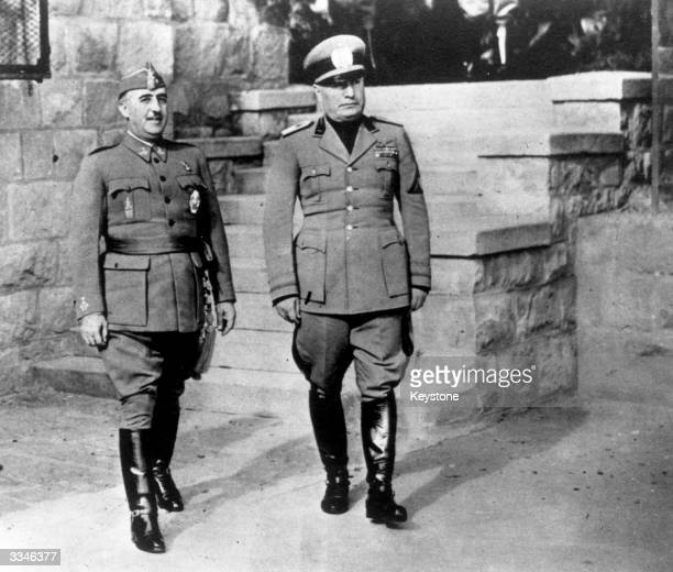 Spanish authoritarian leader Francisco Franco with Italian dictator Benito Mussolini