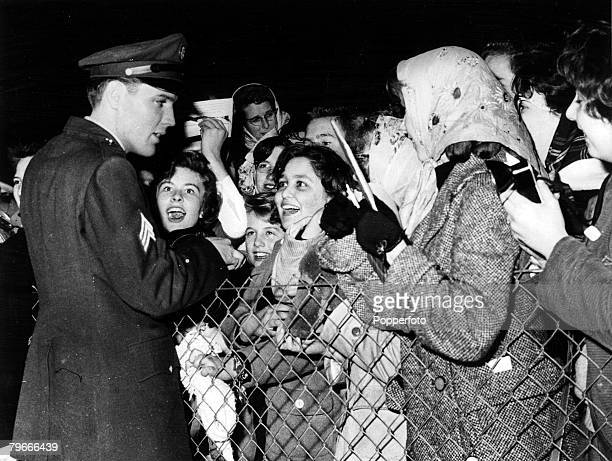 4th March 1960 Prestwick Scotland Sergeant in the US army Elvis Presley American rock and roll singer meets screaming fans at Prestwick Airport en...