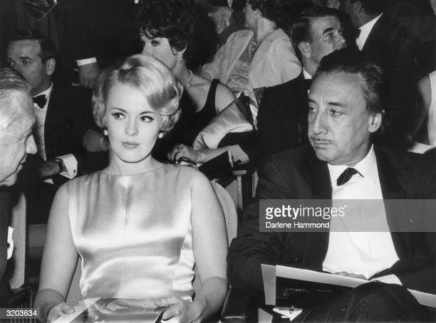 American actor Jean Seberg with her husband French writer and director Romain Gary at the premiere of director Richard Brooks's film 'Lord Jim'...