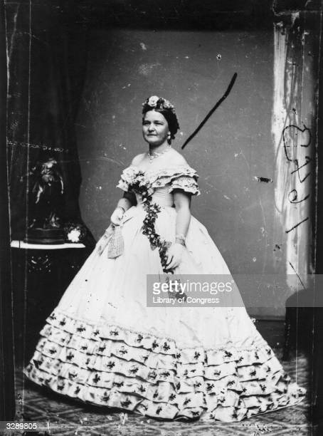 Mary Todd Lincoln wife of Abraham Lincoln the 16th President of the United States dressed for his inauguration