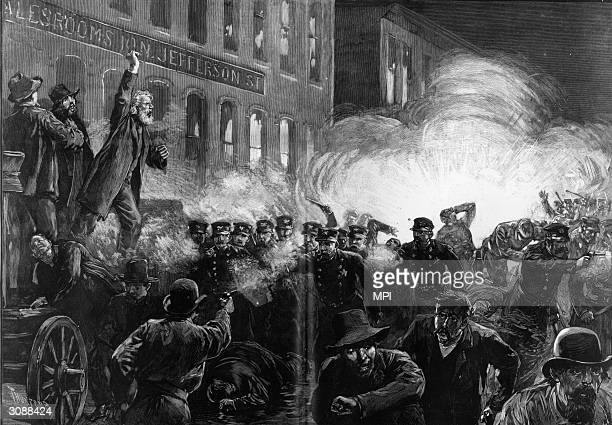 Rioters throw a dynamite bomb into a crowd of policemen during a violent strike rally in Haymarket Square Chicago Original Artwork After Thure de...