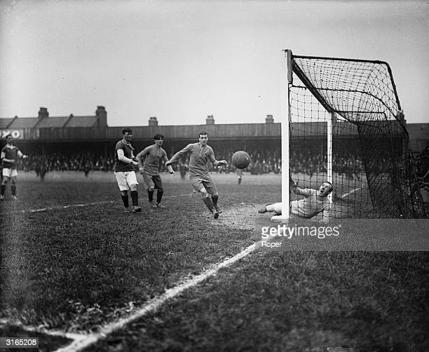 Goalmouth action during a game between West Ham and Arsenal