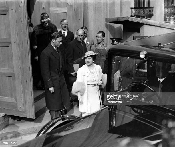4th May 1937, London, England, King George VI and Queen Elizabeth leave Westminster Abbey after attending a Coronation Rehearsal