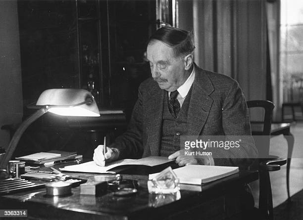 English author H G Wells at his desk Amongst his most famous works are his science fiction stories 'The Time Machine ' 'The War of the Worlds' and...