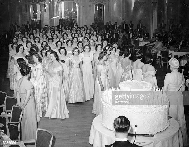 Ninety debutantes at Queen Charlotte's Birthday Ball at the Grosvenor House Hotel Park Lane London
