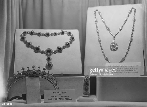 Items of jewellery belonging to the Princess Royal, Mary Victoria Alexandra Alice, Countess of Harewood, on loan to a jewellery exhibition held at...