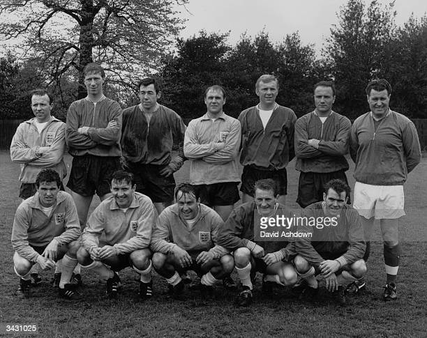 Members of the England football team during a training session before a game against Hungary, , Nobby Stiles, Jack Charlton, Gordon Banks, Ray...