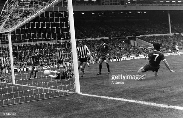 Kevin Keegan scores Liverpool FC's third goal against Newcastle United in the FA Cup Final at Wembley