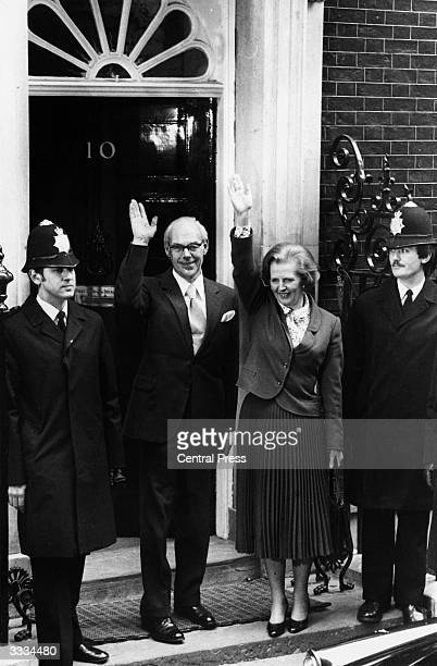 Margaret Thatcher the first female prime minister of a European country standing with her husband Denis Thatcher outside No 10 Downing Street after...