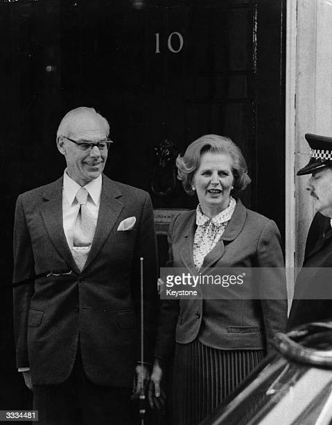 Margaret Thatcher with her husband Denis outside No 10 Downing street after she had been elected Britain's first woman Prime Minister succeeding...