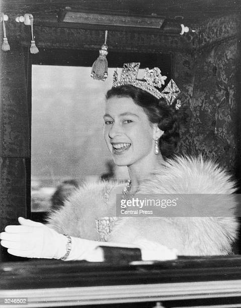 Queen Elizabeth II on the way to Westminster to preside at the first State Opening of Parliament ceremony since her accession to the throne