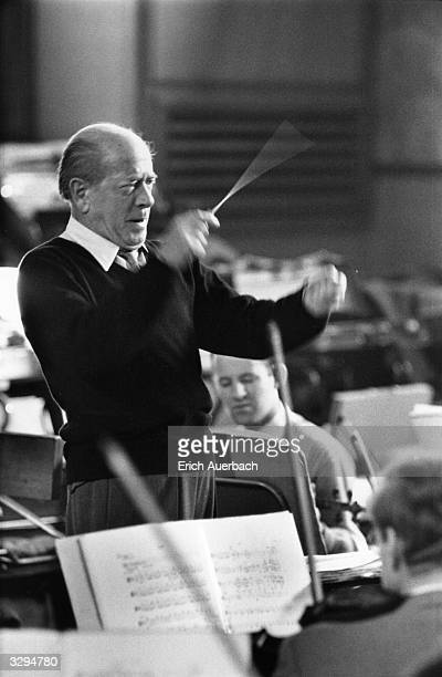 The Hungarian/US conductor Eugene Ormandy during a rehearsal with the London Symphony Orchestra of Mahler's 10th Symphony