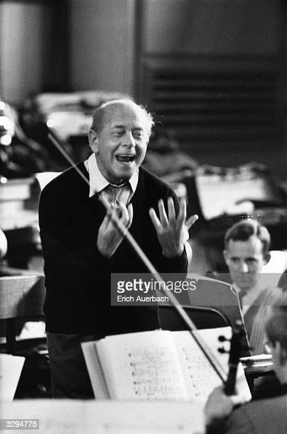 The Hungarian/US conductor Eugene Ormandy rehearses the London Symphony Orchestra in Mahler's 10th Symphony