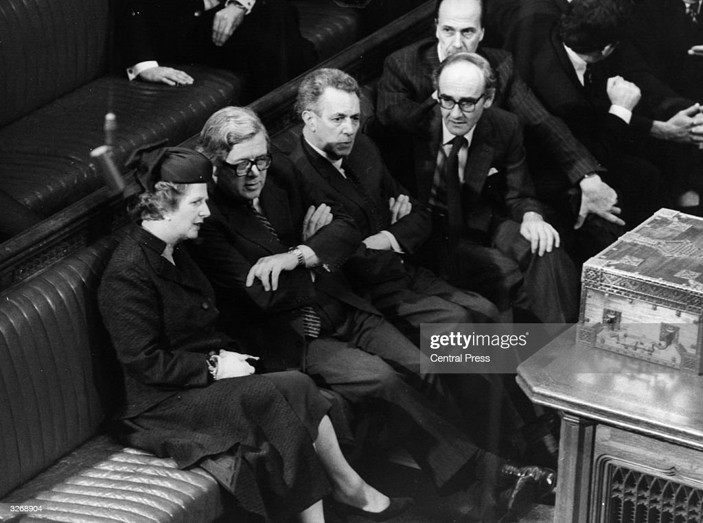 British Conservative Prime Minister, Margaret Thatcher, with Geoffrey Howe, Keith Joseph, John Nott, Norman Tebbit on the Conservative front bench in the House of Commons.