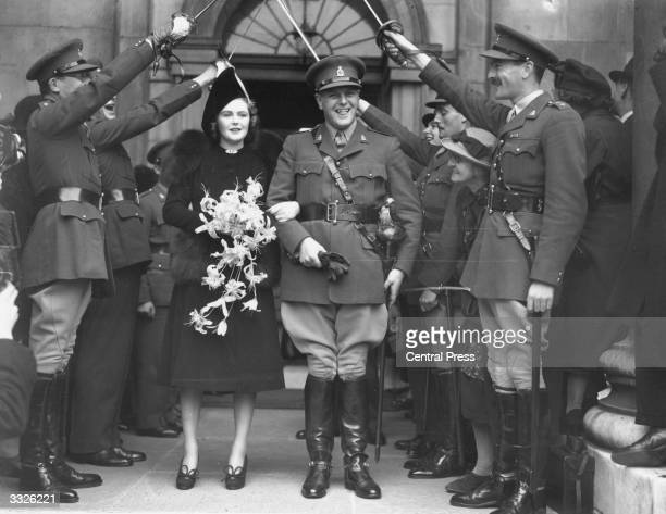 Randolph Churchill and Pamela Digby after their wedding ceremony at St John's Church Westminster London