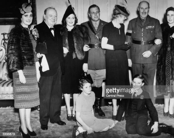 Winston Churchill at the wedding of his son Randolph Churchill to Pamela Digby.