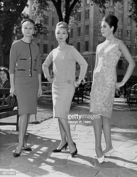 Fashion show called 'Start Living in Courtelle' taking place in Hanover Square, London. L to R Ann Shevington wears a knitted suit in red and black...