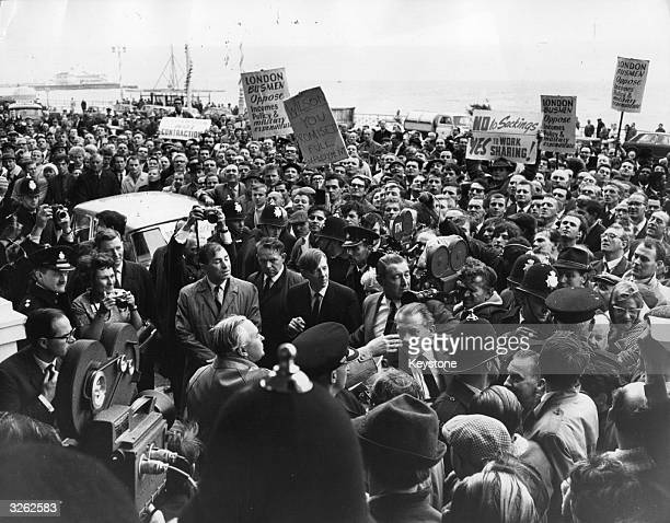The British Prime Minister Harold Wilson addressing a thousand car workers demonstrating in Brighton Mr Wilson agreed to meet a delegation of senior...