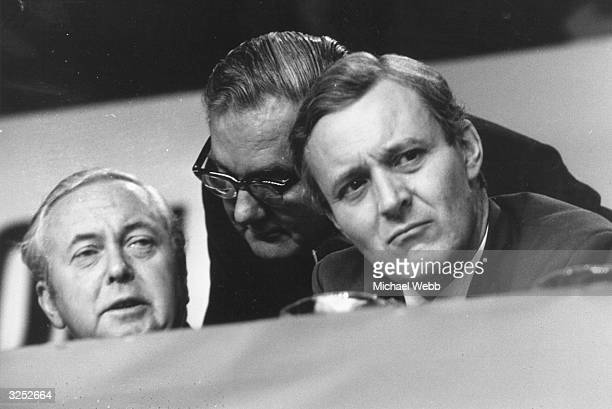 Labour politicians Harold Wilson James Callaghan and Tony Benn at the Labour party conference in Brighton