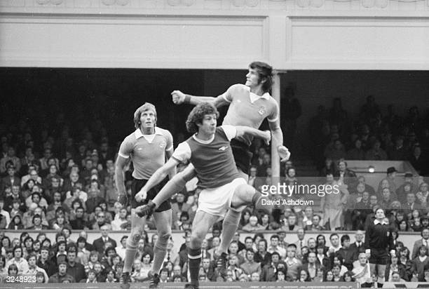 Arsenal play Manchester City at Highbury Mike Doyle Brian Kidd and Colin Bell at close quarters