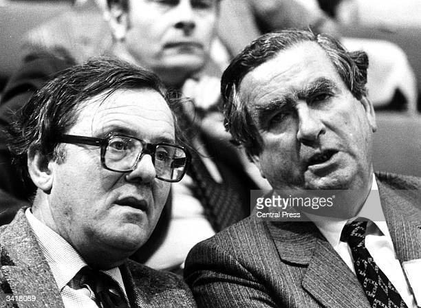 British Labour politician Denis Healey with former Labour Secretary of State for Northern Ireland Merlyn Rees at a Labour Party conference in Brighton
