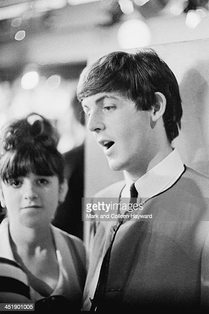 Paul McCartney from The Beatles posed on the set of the TV show Ready Steady Go at Television House on Kingsway London on 4th October 1963