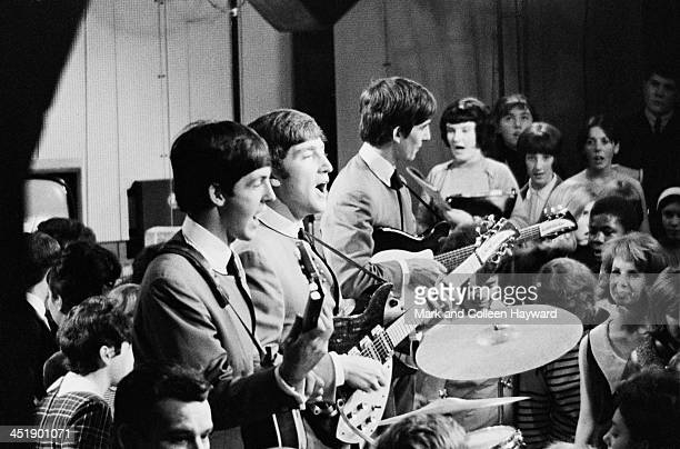 The Beatles perform on Ready Steady Go for the first time at Television House on Kingsway London on 4th October 1963 Left to right Paul McCartney...