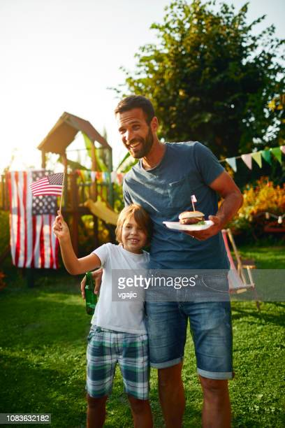 4th of july - father and son - independence day holiday stock pictures, royalty-free photos & images