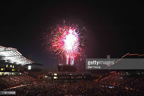 4th of July fireworks explode after the game between the Colorado Rapids and the Houston Dynamo at Dick's Sporting Goods Park on July 3 2011 in...