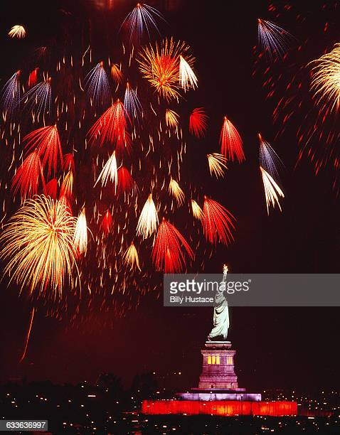 4th of July fireworks over the Statue of Liberty