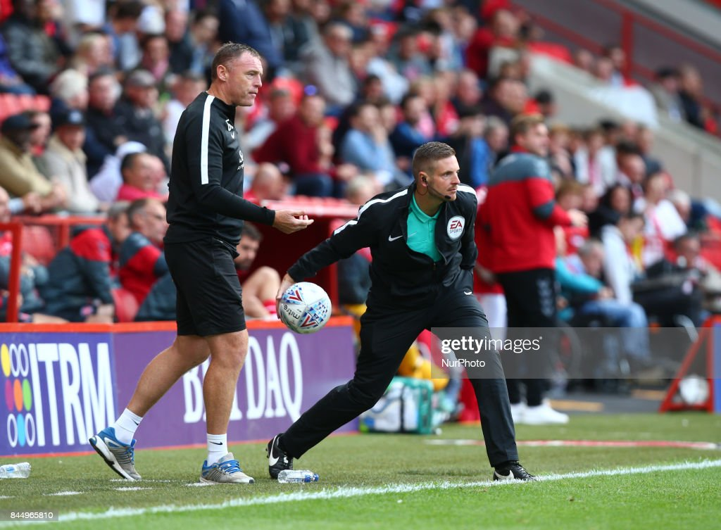 4th Official Ryan Atkin during Sky Bet League One match between Charlton Athletic against Southend United at The Valley Stadium London on 09 Sept 2017
