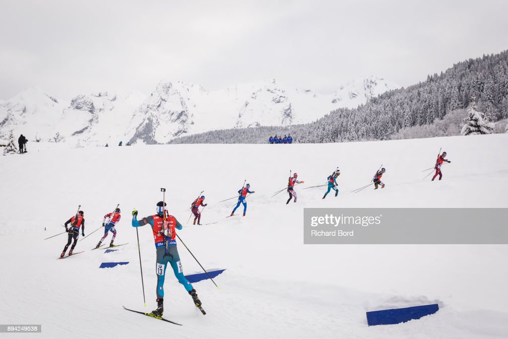 4th place Anton Shipulin of Russia, 3rd place Erik Lesser of Germany, 1st place Martin Fourcade of France, 12th place Simon Eder of Austria, 15th place Lukas Hofer of Italy, 13th place Anton Babikov of Russia, 20th place Quentin Fillon Maillet of France, 11th place Tarjei Boe of Norway and 5th place Benjamin Weger of Switzerland compete during the IBU Biathlon World Cup Men's Mass Start on December 17, 2017 in Le Grand Bornand, France.