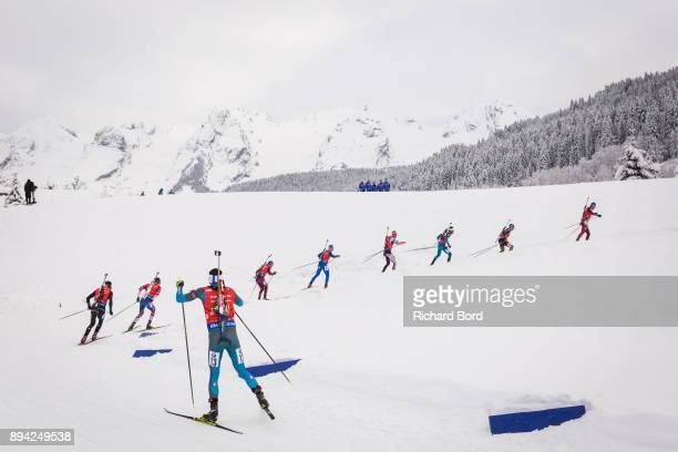 4th place Anton Shipulin of Russia, 3rd place Erik Lesser of Germany, 1st place Martin Fourcade of France, 12th place Simon Eder of Austria, 15th...