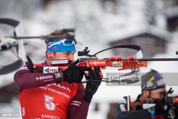 4th place Anton Shipulin of Russia shoots during the IBU Biathlon World Cup Men's Mass Start on December 17 2017 in Le Grand Bornand France