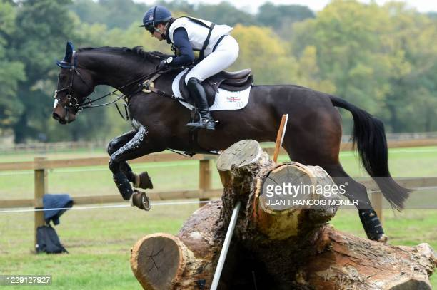"""4th placed of the 7 years-old horse category English's Laura Collett rides Moonlight Charmer during the Cross Country event """"Mondial du..."""