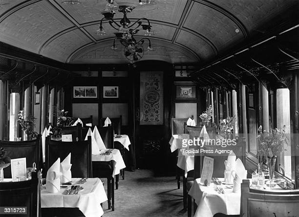 The dining car of the Lusitania's boat train at Fishguard
